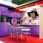 Цвет-сиреневый, стиль-модерн, тип-угловая, кухня Сирена