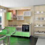 цвет-зеленый, стиль-модерн, прямая, кухня Сабрина