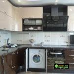кухня бежево-коричневая, стиль-модерн, тип-радиусная угловая, кухня модерн М50-1