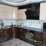 кухня бежево-коричневая, стиль-модерн, тип-радиусная угловая, кухня модерн М50