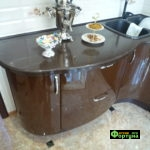 кухня бежево-коричневая, стиль-модерн, тип-радиусная угловая, кухня модерн М50-2