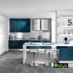 кухня цвет-бело-бирюзовый, стиль-модерн, тип-встроенная, кухня модерн М20