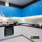 кухня цвет-бело-синяя, стиль-модерн, тип-угловая, кухня модерн М60
