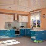 кухня цвет-бирюзово-белая, стиль-модерн, тип-п-образная, кухня модерн М08