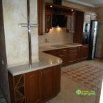 кухня цвет-коричневый, стиль-классический, тип-радиусная, кухня классическая К17-3