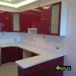 кухня цвет-красный, стиль-модерн, тип-П-образная, кухня модерн М36