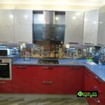 кухня цвет-красный, стиль-модерн, тип-угловая, кухня модерн М29