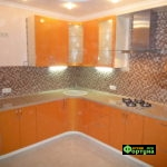 кухня цвет-оранжевый, стиль-модерн, тип-угловая, кухня модерн М35