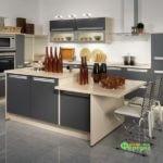 кухня цвет-серый, стиль-модерн, тип-с островом, кухня модерн М16