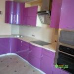 кухня цвет-сиреневый металлик, стиль-модерн, тип-с барной радиусная, кухня модерн М13