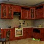 Кухня цвет-вишня, стиль-классический, тип-угловая, кухня классическая К62