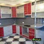 кухня красная, стиль-модерн, тип-угловая с барной стойкой, кухня модерн М40