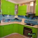 кухня салатовая, стиль-модерн, тип-угловая, кухня модерн М52
