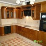 кухня цвет-коричневый, стиль-классический, тип-радиусная, кухня классическая К17