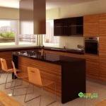 кухня цвет-зебрано, стиль-модерн, тип-с островом, кухня модерн М18